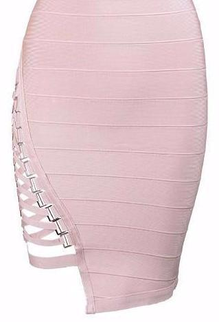Alba Bodycon Bandage Dress -Pink - Posh Fashion Girls
