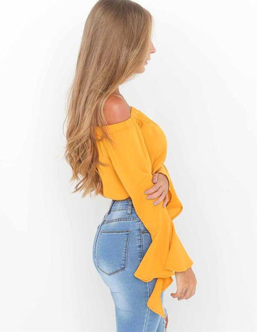 Melina  Off Shoulder Crop Top - Posh Fashion Girls