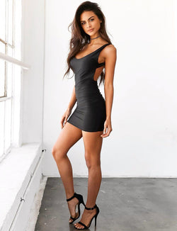 Silvana backless dress-Black - Posh Fashion Girls