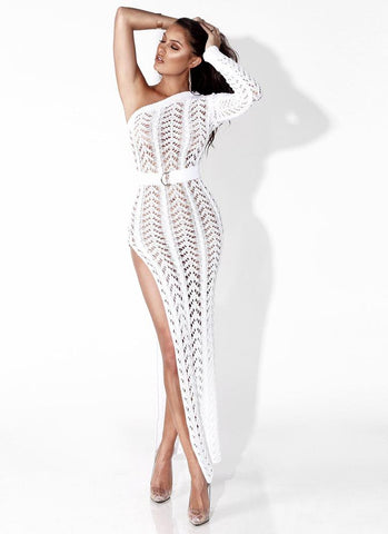 Erin One Shoulder Split Dress- White - Posh Fashion Girls
