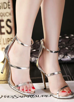 Strapped Lux Heel Shoes-Silver - Posh Fashion Girls