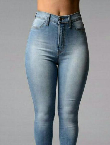 High Waisted Skinny-Blue - Posh Fashion Girls
