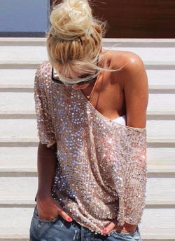 Aven Sequins Top- Rose Gold - Posh Fashion Girls