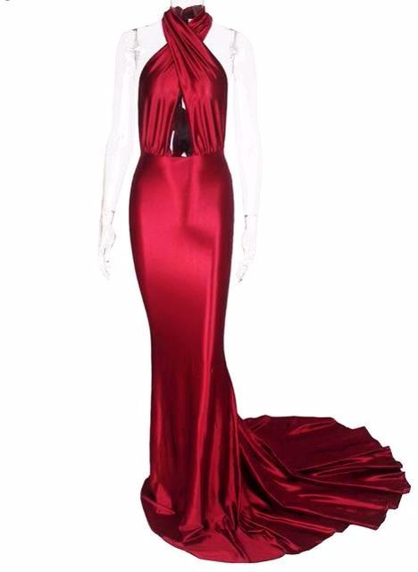 Adeline Brilliant Mermaid Dress-Red - Posh Fashion Girls