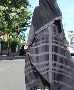 Black And Grey Stripe Abaya With Flare
