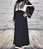 Nidha Closed Abaya, Black and Cream, Embroidered Floral Pattern