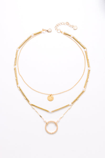 Mauve Layer Necklace - Nakamol
