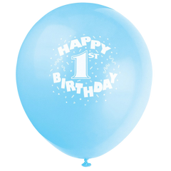 Happy 1st Birthday Party 11 Pearlised Printed Latex Balloons