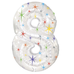 Multi Sparkles Number  Balloon