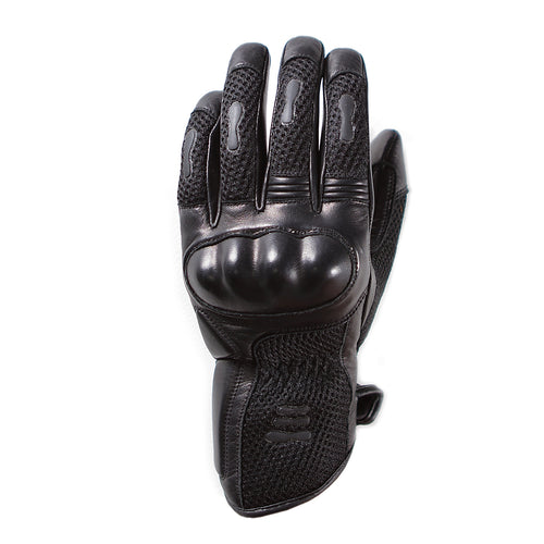 Helstons WIND MESH summer black leather glove