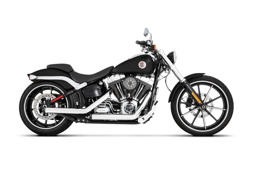 Softail Kick Backs 2-into-2 Chrome with Black End Caps
