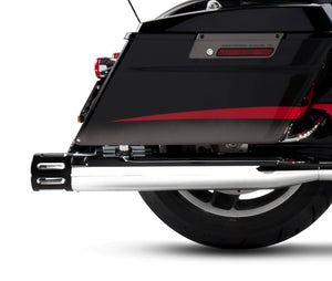"All Touring Models Milwaukee Eight - 4"" Slip-On Mufflers Chrome With Black End Caps Merge"