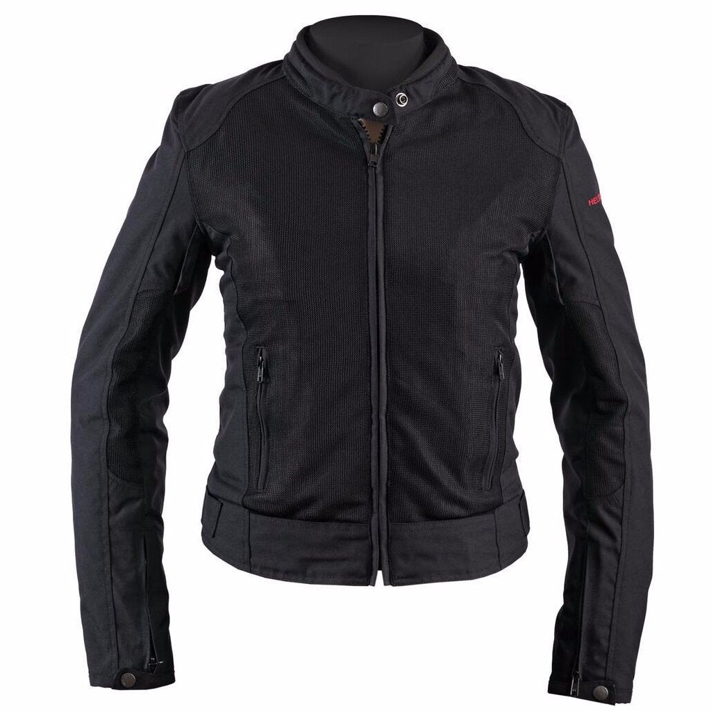 Helstons DISTRICT Women's black Mesh fabric motorcycle jacket