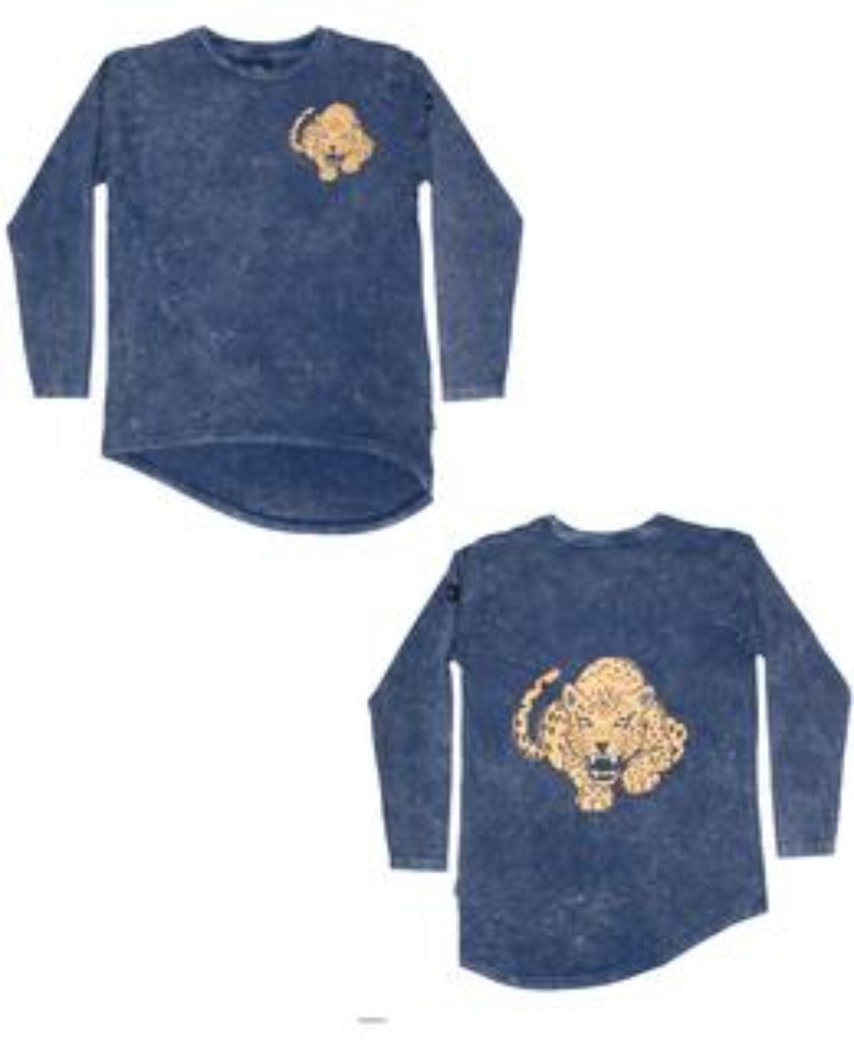 Band of Boys Long Sleeve Tee Fierce Leopard Asymmetric Vintage Blue