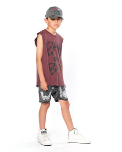 Logo Muscle Tank Vintage Red Band of Boys