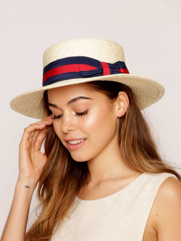 Jane Ribbon Straw Boater Hat