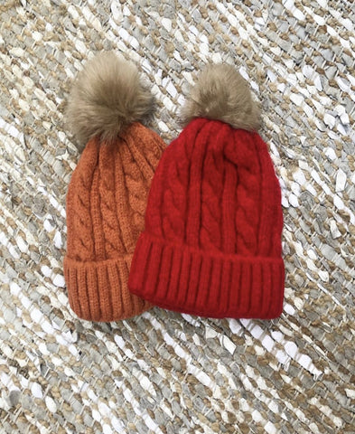 Ladies Beanie Cable Red