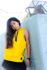 Mustard oversized hooded vest