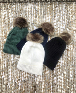 Ladies Beanie Ribbed Off White
