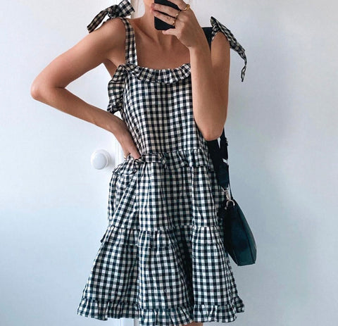 Daphne Check Shoulder Tie Short Dress