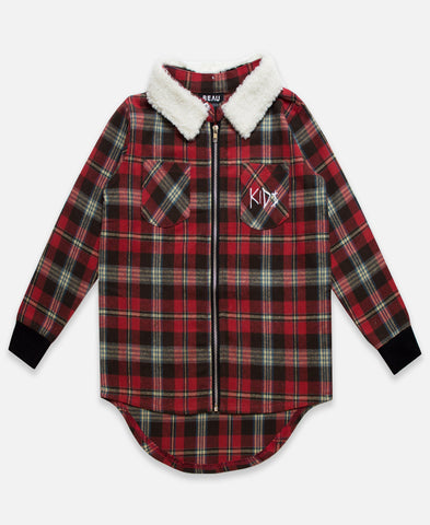 Beau Bella Zip Plaid Shirt