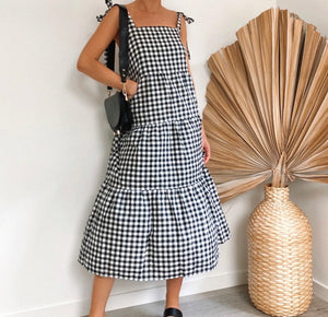 Daphne Check Shoulder Tie Long Dress
