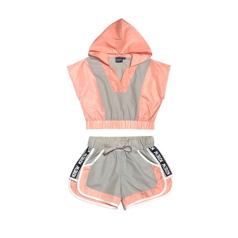 Shell Panel Hoodie Luxe Top Peach/grey