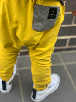 Mustard with grey biker detail harems