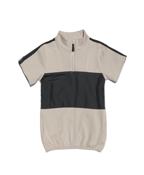 Boys Panel Front Zip Top stone/black