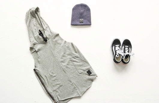 Grey oversized hooded vest