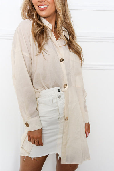 Oatmeal Oversized shirt with gold buttons