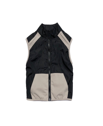 Luxe sleeveless jacket. Boys sleeveless Shell Zip Top stone/black