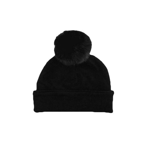 Krome Kids Black Single Pom Pom Beanie