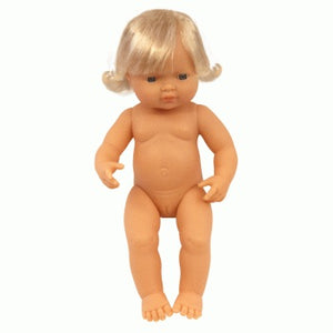 Miniland Doll Caucasian Girl Blonde 38cm (undressed)