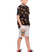 Band of Boys Hamburger Repeat Oversize Black Tee