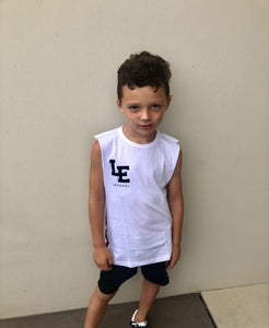Little Edge White Logo Singlet