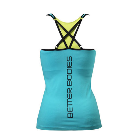 2-LAYER LOGO TOP - AQUA BLUE | BETTER BODIES | Outletintegratori.com