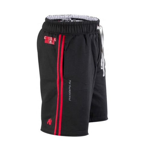 GW 82 SWEAT SHORTS BLACK & RED 2 | GORILLA WEAR | Outletintegratori.com