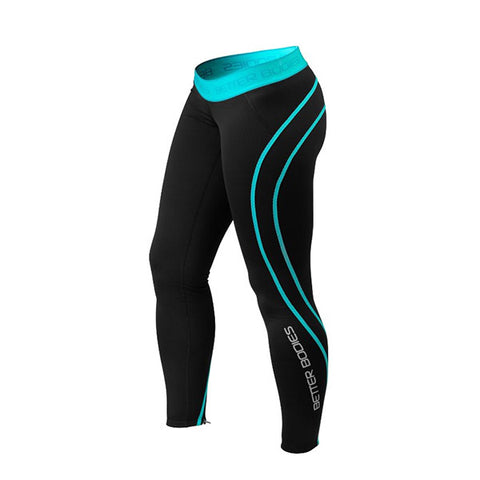 ATHLETE TIGHTS - BLACK & AQUA | BETTER BODIES | Outletintegratori.com