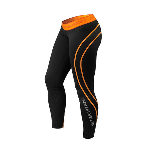 ATHLETE TIGHTS - BLACK & ORANGE| BETTER BODIES | Outletintegratori.com