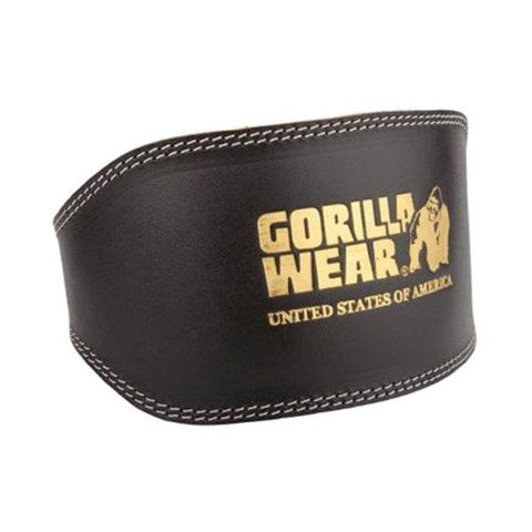 FULL LEATHER PADDED BELT-BLACK & GOLD |GORILLA WEAR|Outletintegratori