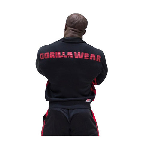 GW TRACK JACKET - BLACK & RED | GORILLA WEAR | Outletintegratori.com