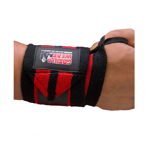 GW WRIST WRAPS PRO - BLACK & RED| GORILLA WEAR | Outletintegratori.com