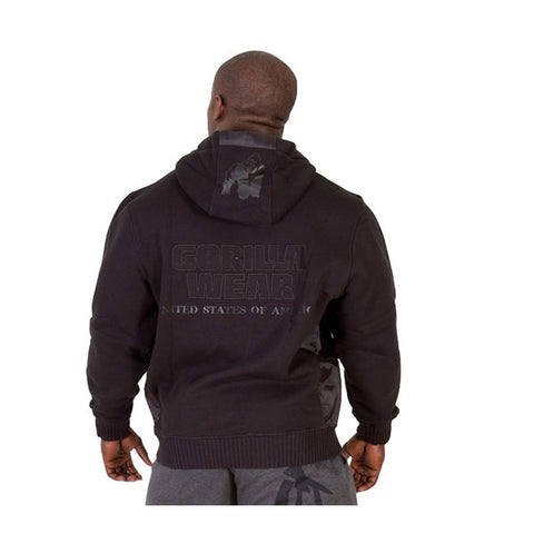 GW LOGO HOODED JACKET - BLACK | GORILLA WEAR | Outletintegratori.com