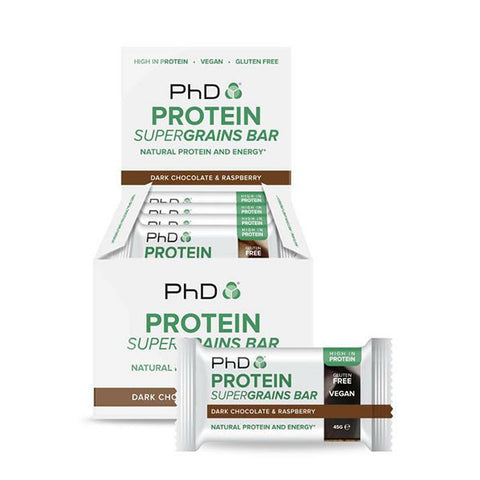 PROTEIN SUPERGRAINS BAR 12x45g Dark Chocolate & Raspberry | PhD | Outletintegratori.com