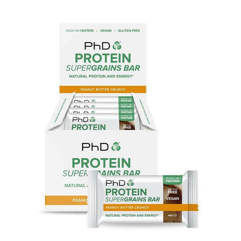 PROTEIN SUPERGRAINS BAR 12x45g Peanut Butter Crunch | PhD | Outletintegratori.com
