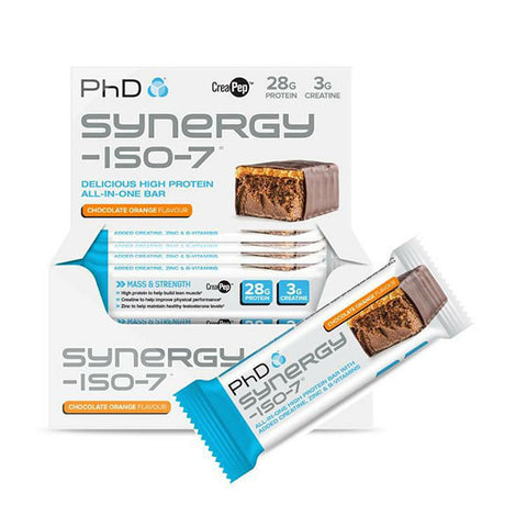 SYNERGY-ISO-7 BAR 12x70g Chocolate Orange | PhD | Outletintegratori.com