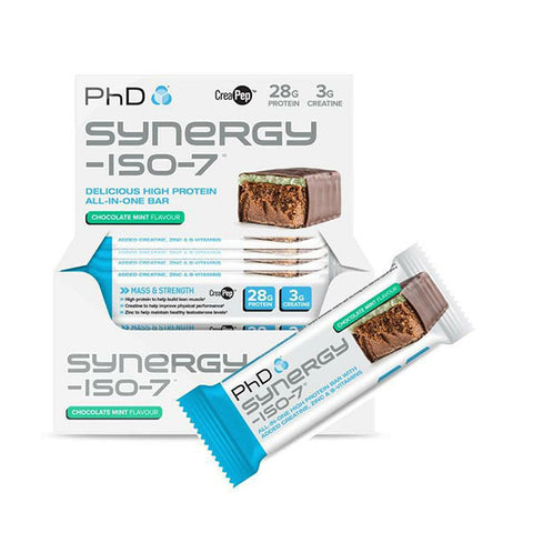 SYNERGY-ISO-7 BAR 12x70g Chocolate Mint | PhD | Outletintegratori.com