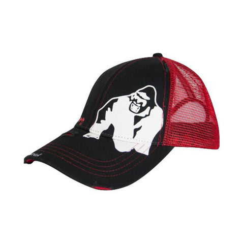 GW TRUCKER CAP - BLACK & RED | GORILLA WEAR | Outletintegratori.com