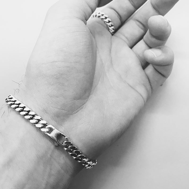 Curb Chain Bracelet - 925 Sterling Silver